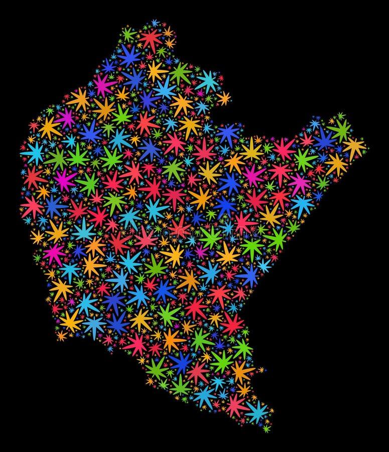Mapa de Podkarpackie Voivodeship del mosaico de las hojas brillantes del cáñamo ilustración del vector