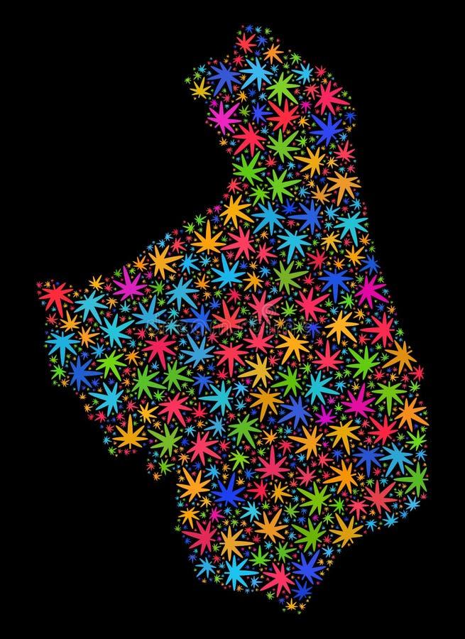 Mapa de Podlaskie Voivodeship del mosaico de las hojas coloridas del cáñamo ilustración del vector