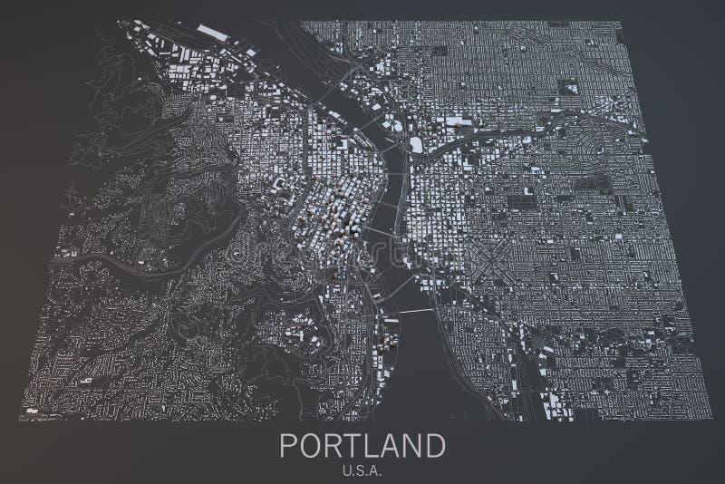 Mapa de Portland, vista satélite, Estados Unidos imagens de stock royalty free