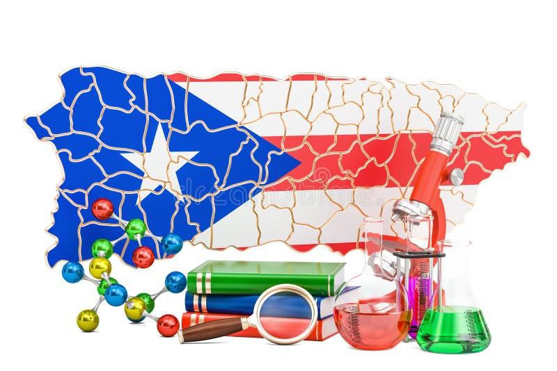 Mapa de Porto Rico com estetoscópio, conceito nacional dos cuidados médicos, ilustração stock