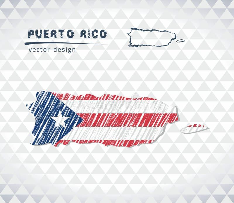 Mapa de Porto Rico com o mapa tirado mão da pena do esboço para dentro Ilustração do vetor ilustração royalty free