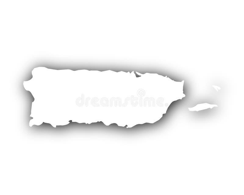 Mapa de Porto Rico com sombra imagens de stock