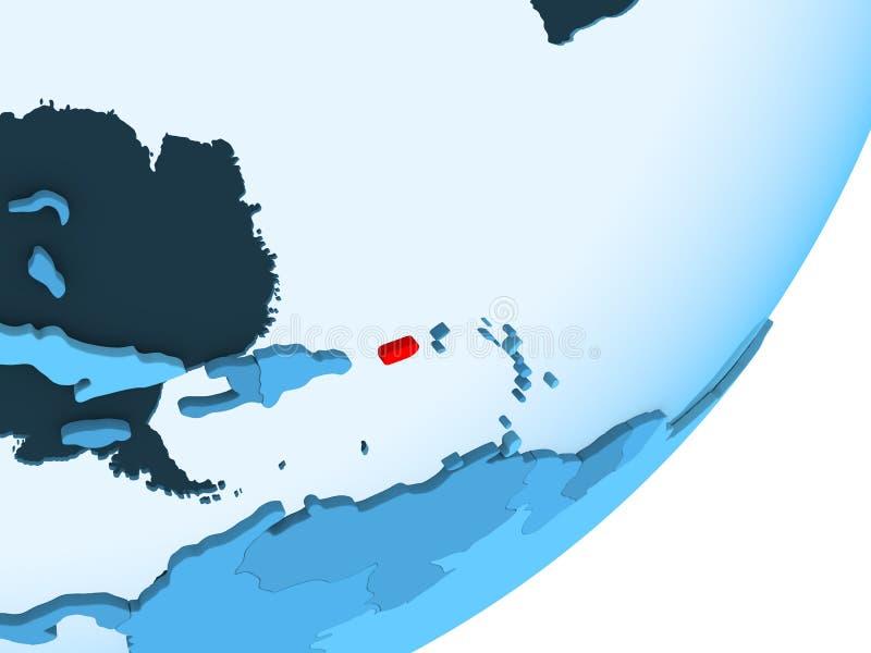 Mapa de Porto Rico no globo político azul ilustração royalty free