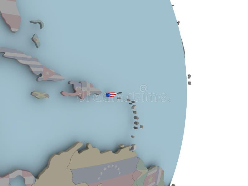Mapa de Porto Rico no globo político com bandeira ilustração royalty free