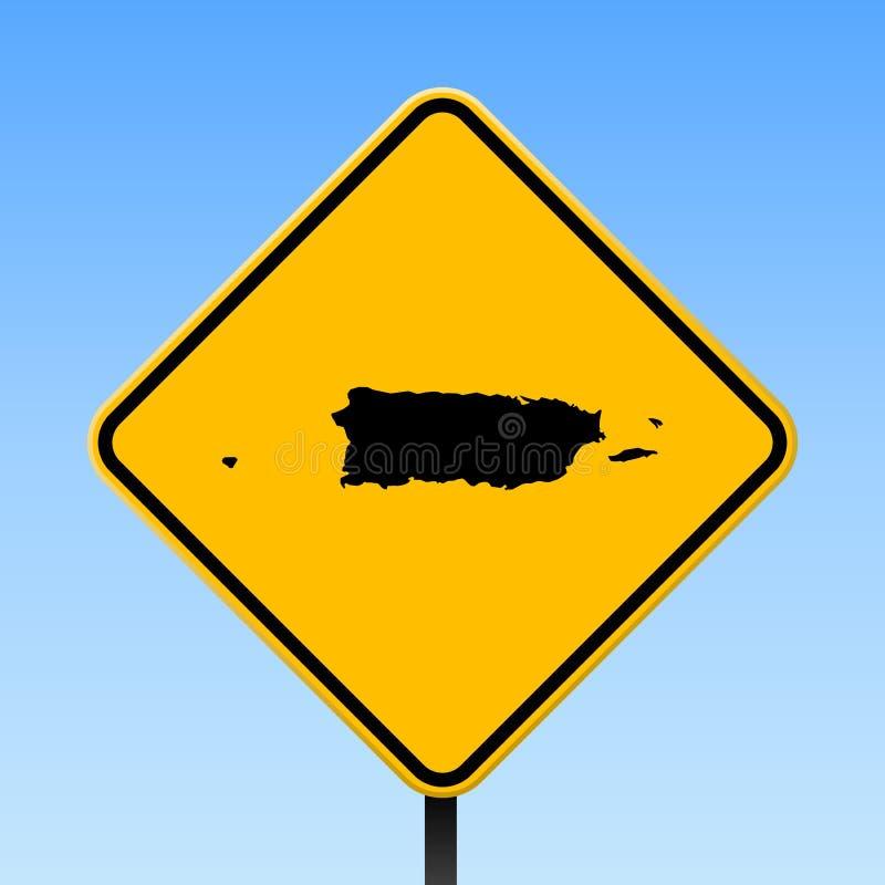 Mapa de Porto Rico no sinal de estrada ilustração stock