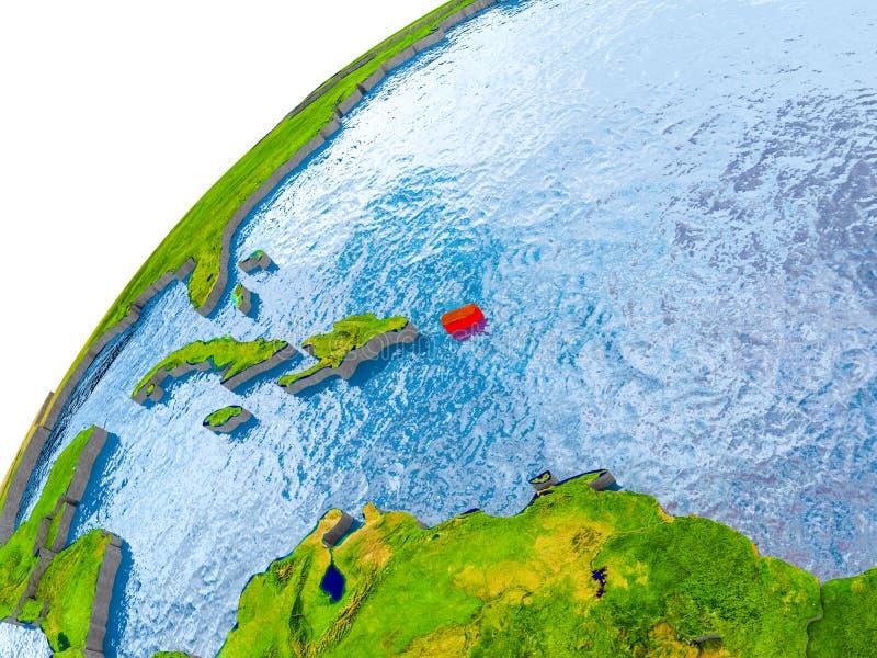 Mapa de Porto Rico no vermelho no globo ilustração stock