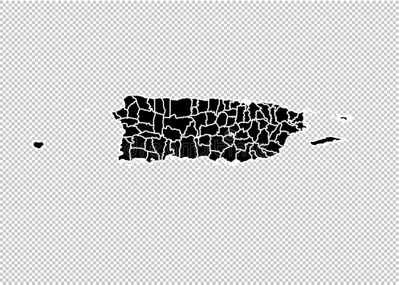 Mapa de Porto Rico - mapa preto detalhado da elevação com condados/regiões/estados de Puerto Rico mapa de Puerto Rico isolado em  ilustração stock