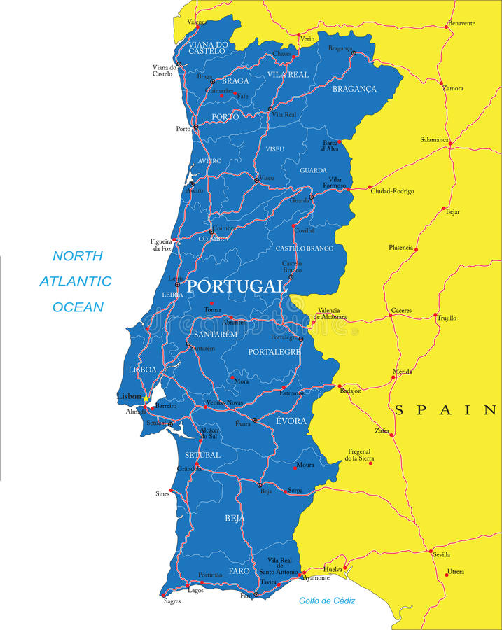 mapa de portugal detalhado Mapa de Portugal ilustração do vetor. Ilustração de porto   31727876 mapa de portugal detalhado