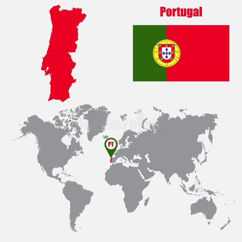 mapa mundo de portugal Mapa De Portugal Em Um Mapa Do Mundo O Ponteiro Da Bandeira E  mapa mundo de portugal