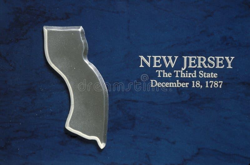 Mapa de prata do estado de New-jersey fotos de stock