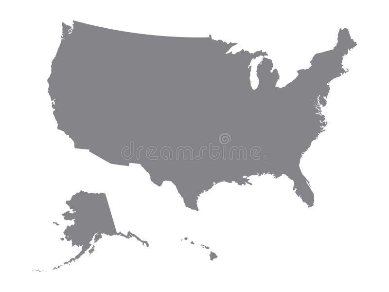 Mapa de prata dos EUA ilustração royalty free
