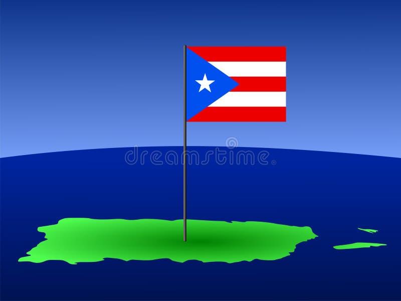 Mapa de Puerto Rico com bandeira ilustração stock