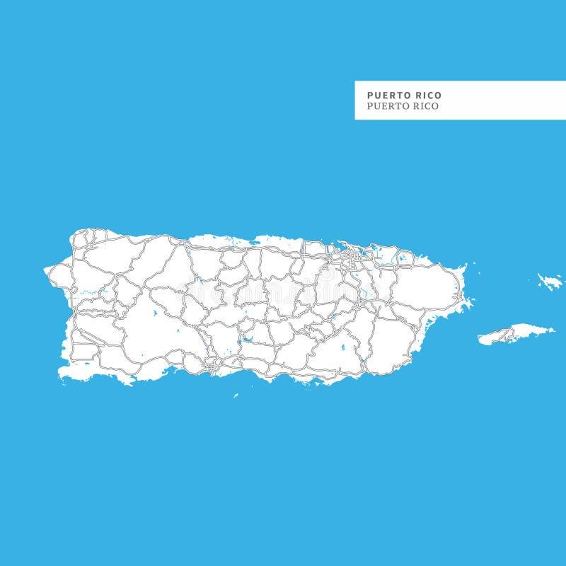 Mapa de Puerto Rico Island ilustração royalty free