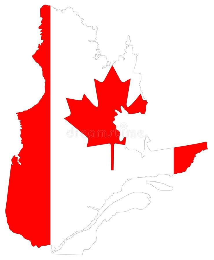 Mapa de Quebec con la bandera canadiense - la provincia y el territorio más grandes de Canadá libre illustration