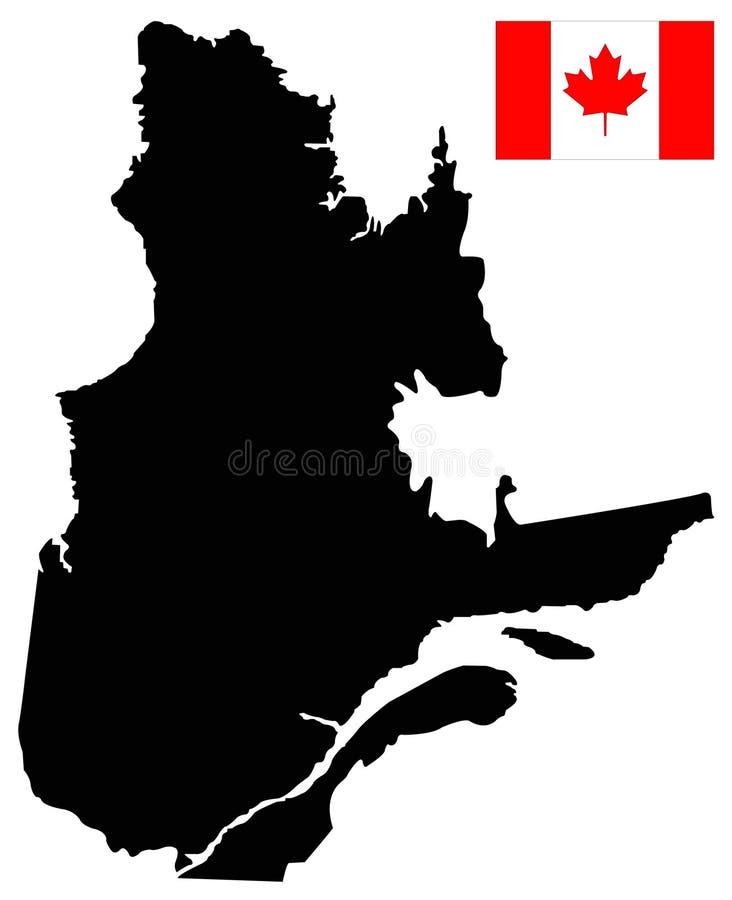 Mapa de Quebec con la bandera canadiense - la provincia y el territorio más grandes de Canadá ilustración del vector