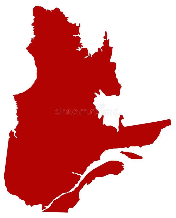 Mapa de Quebec - la provincia y el territorio más grandes de Canadá stock de ilustración