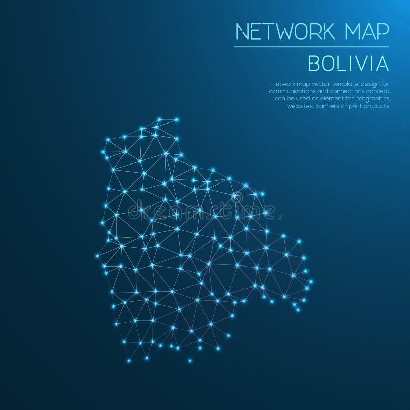 Mapa de rede de Bolívia ilustração stock