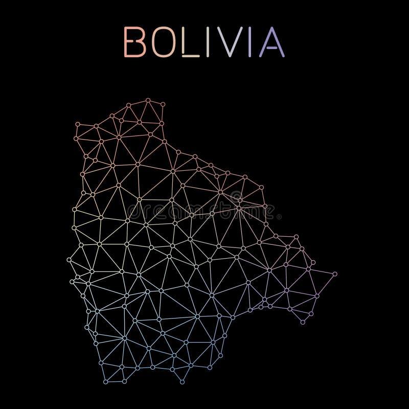 Mapa de rede de Bolívia ilustração royalty free