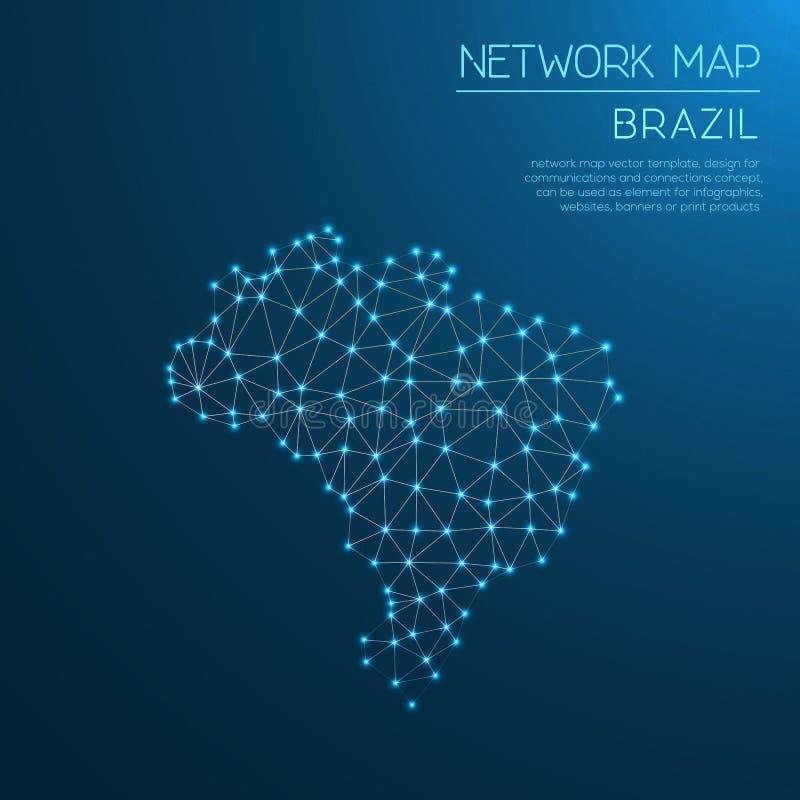 Mapa de rede de Brasil imagem de stock