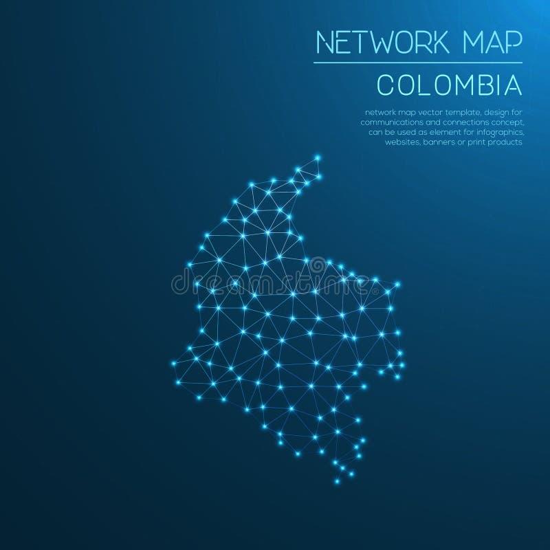 Mapa de rede de Colômbia ilustração do vetor