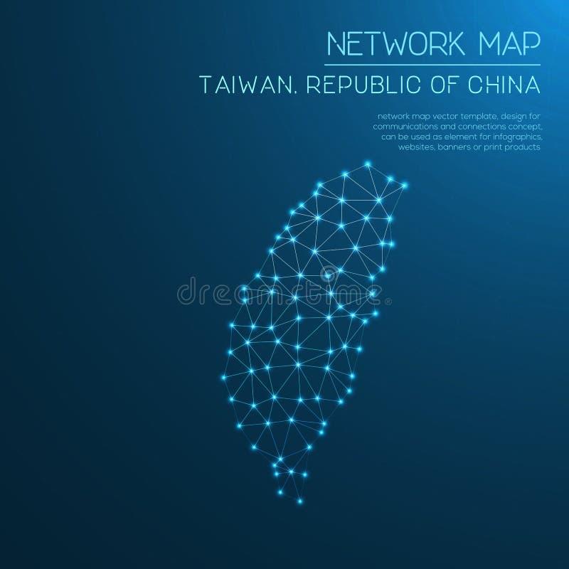 Mapa de rede de Taiwan, a República da China foto de stock royalty free