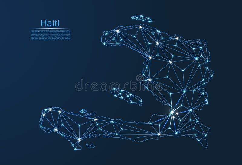 Mapa de rede de uma comunicação de Haiti Baixa imagem poli do vetor de um mapa global com luzes sob a forma das cidades em ou da  ilustração stock
