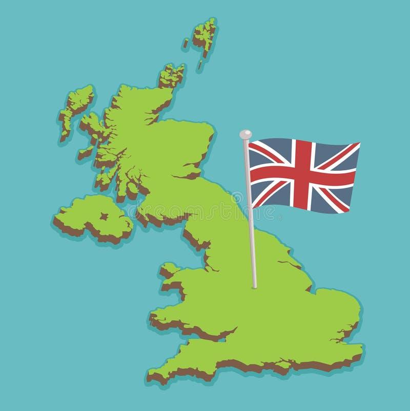 Mapa de Reino Unido ilustração do vetor