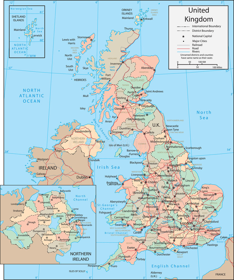 Mapa de Reino Unido ilustração stock