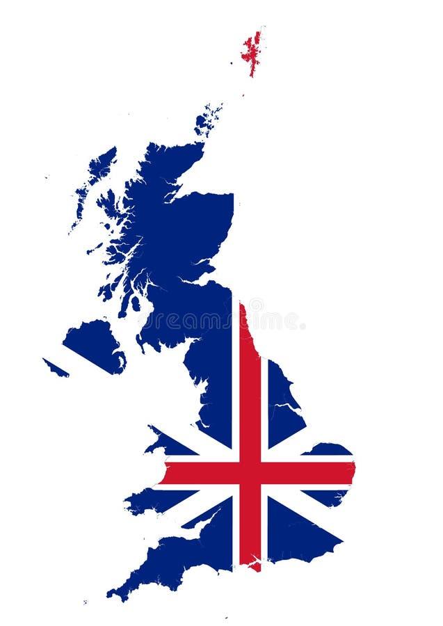 Mapa de Reino Unido coloreado con la unión Jack Flag stock de ilustración