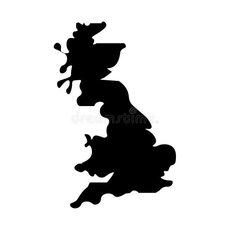 Mapa de Reino Unido llenado de la muestra negra stock de ilustración