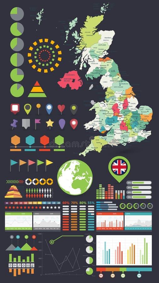 Mapa de Reino Unido y elementos del diseño de Infographics stock de ilustración