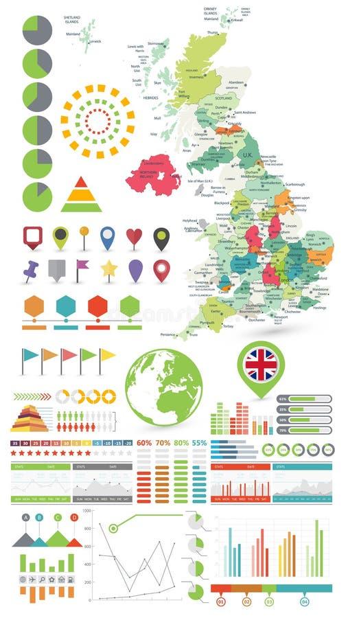 Mapa de Reino Unido y elementos del diseño de Infographics En blanco ilustración del vector