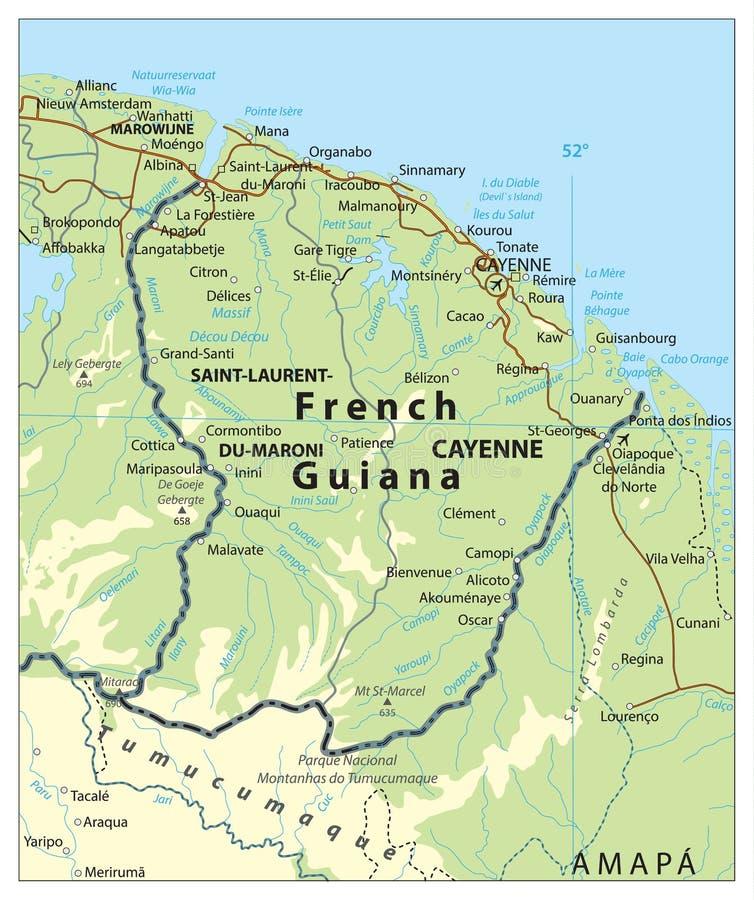 Mapa De Relevo Da Guiana Francesa Ilustracao Do Vetor Ilustracao