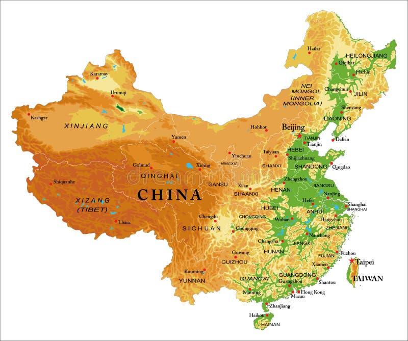 Mapa de relevo de China ilustração stock