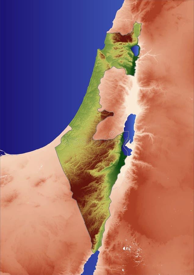 Mapa de relevo de Israel ilustração stock