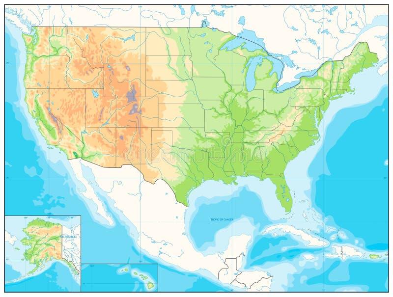 Mapa de relevo detalhado dos EUA NENHUM texto ilustração do vetor