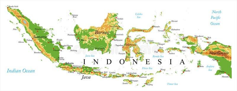 Mapa de relevo de Indonésia ilustração stock