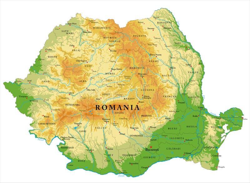 Mapa de relevo de Romênia ilustração royalty free