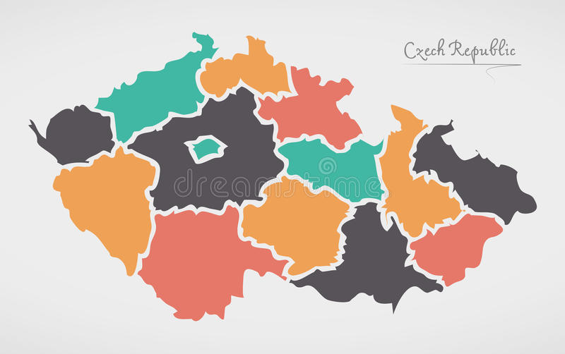 Mapa de República Checa com estados e formas redondas modernas ilustração stock