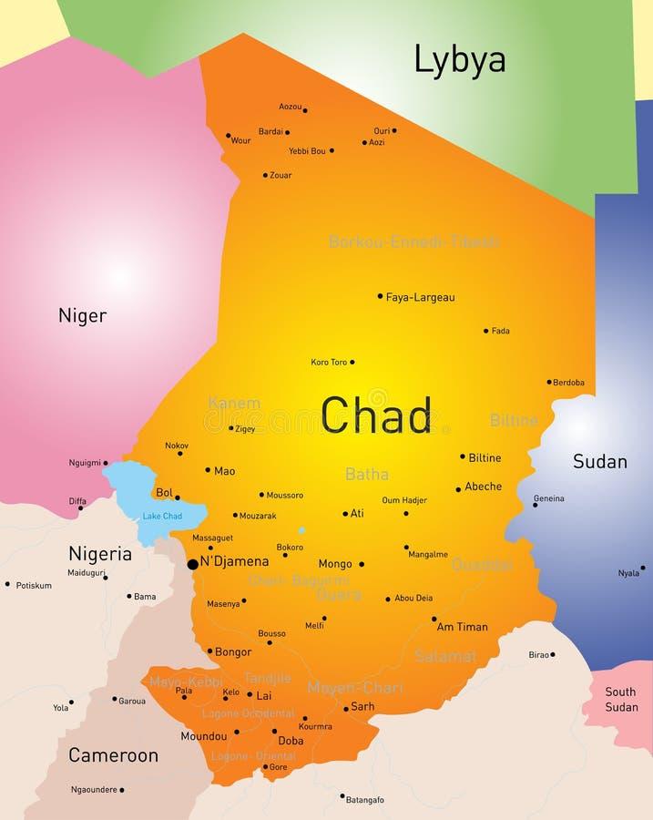 Mapa de República eo Tchad stock de ilustración