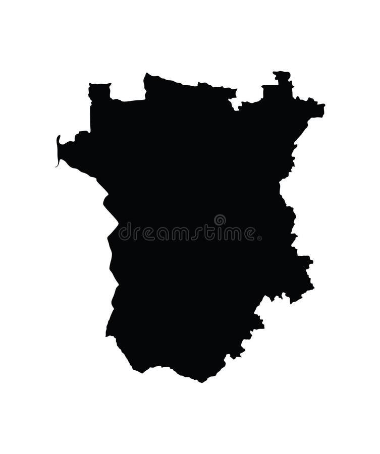 Mapa de Republic of Chechnya Mapa checheno da república Ilustração do mapa do oblast de Rússia ilustração stock