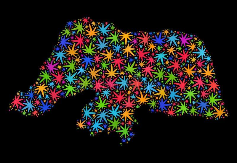 Mapa de Rio Grande Do Norte State del mosaico de las hojas coloridas de la marijuana ilustración del vector