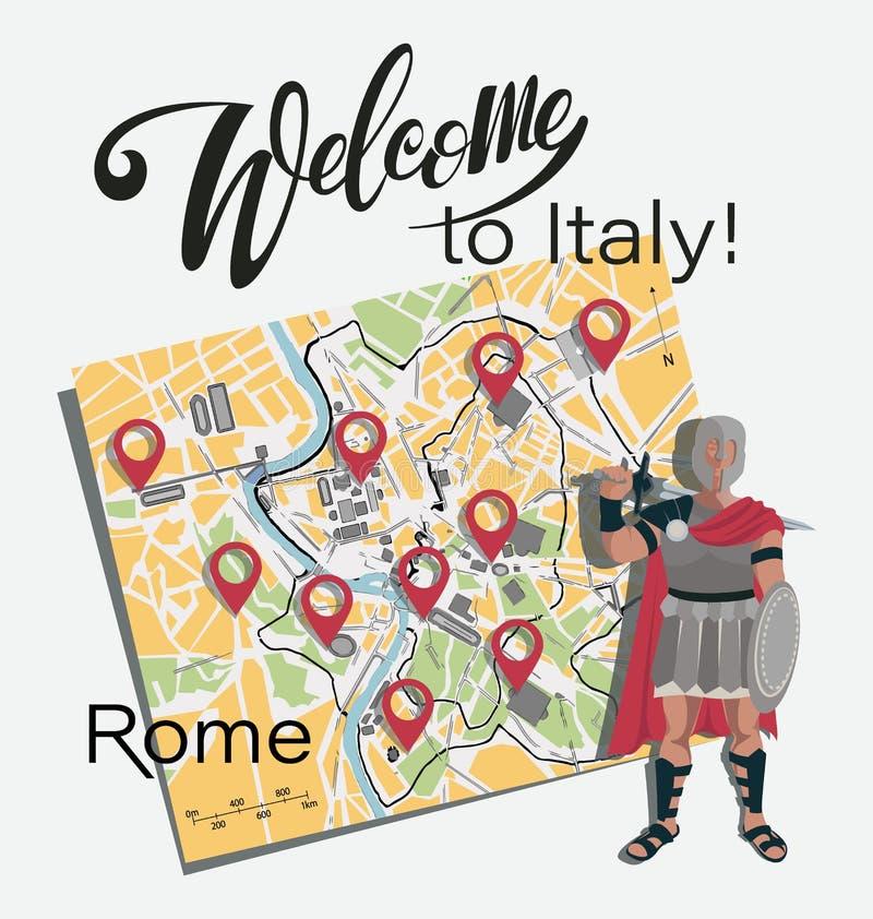 Mapa de Roma gladiator jogo ilustração stock