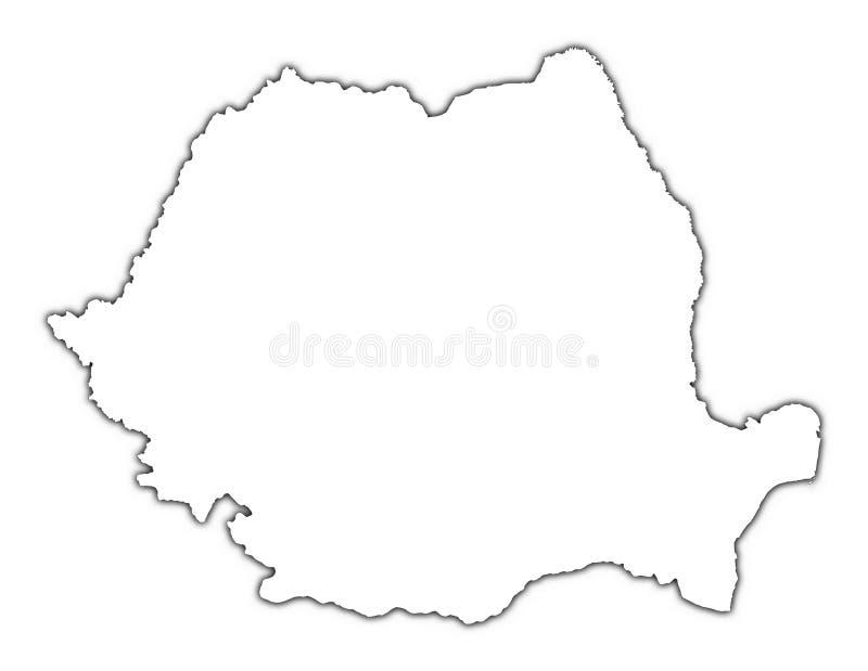 Mapa de Romania com sombra ilustração do vetor