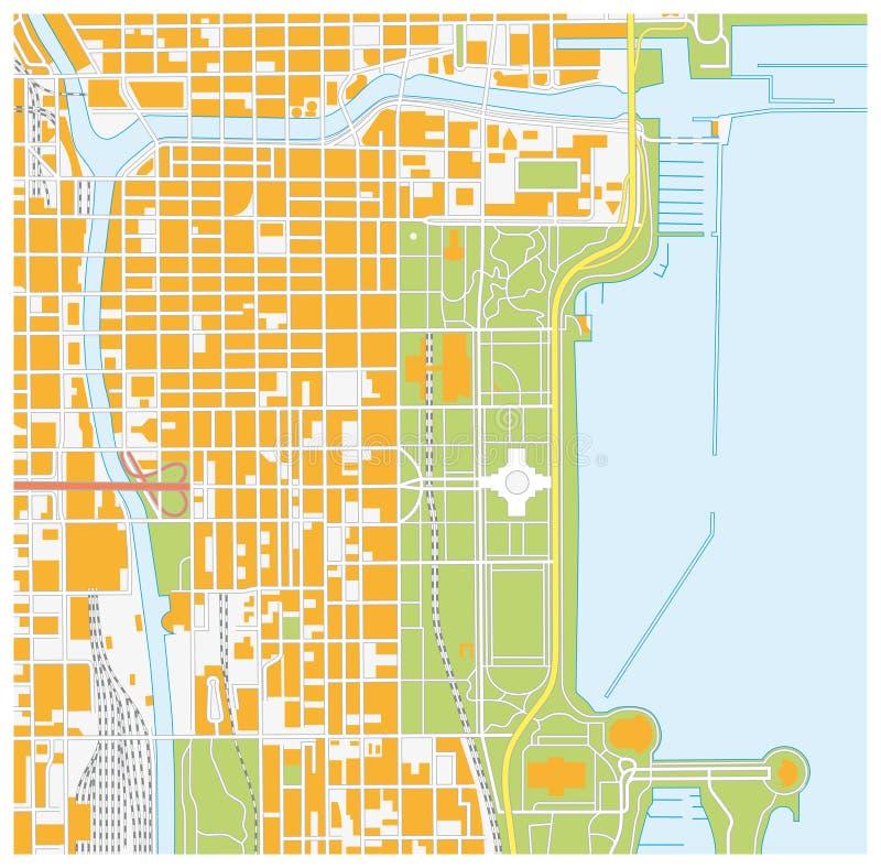Mapa de ruas de Chicago do centro, Illinois ilustração stock
