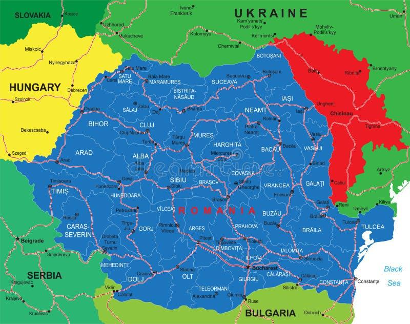 Mapa de Rumania stock de ilustración