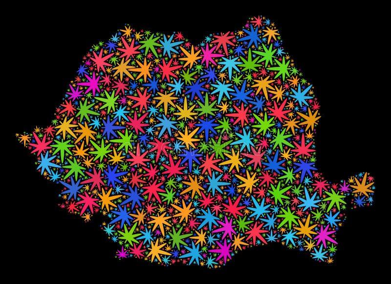 Mapa de Rumania del mosaico de las hojas coloreadas del cáñamo stock de ilustración