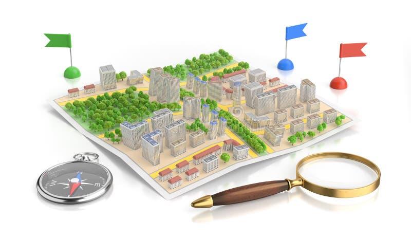 mapa de ruta 3D de una ciudad libre illustration