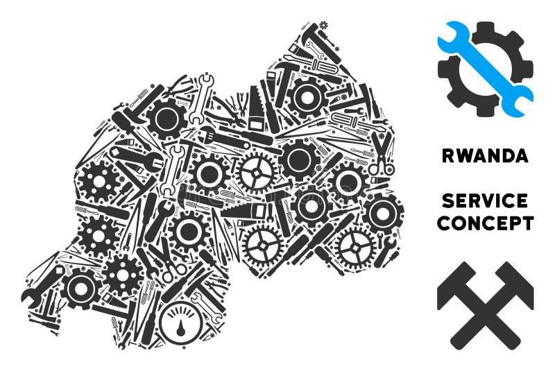 Mapa de Rwanda del mosaico de las herramientas de la reparación ilustración del vector