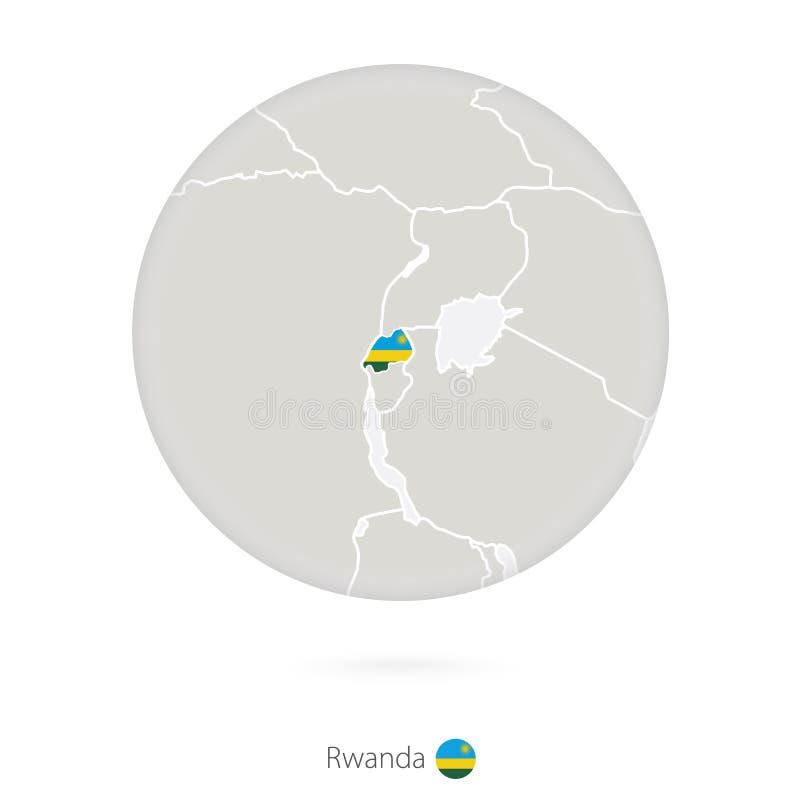 Mapa de Rwanda y de la bandera nacional en un círculo ilustración del vector